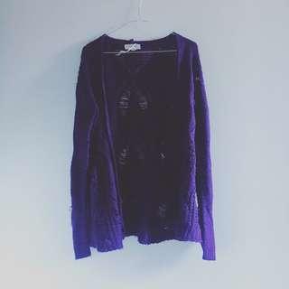 Cozy Purple Winter Thick Cardigan