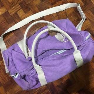 Purple duffle bag