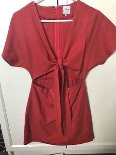 Red linen princess Polly tie front dress