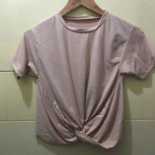 Twisted cropped top nude color