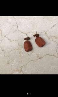 🚚 木質方形耳環