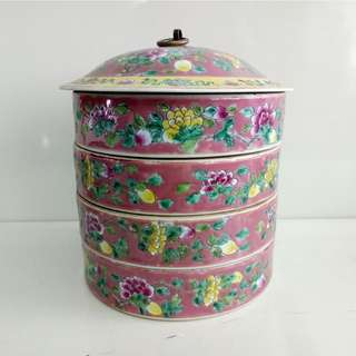 Ceramic Tiffin Tingkat Cherry Color