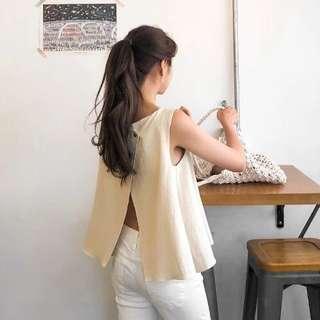 韓國東大門夏季新款獨特後背交叉露腰無袖上衣