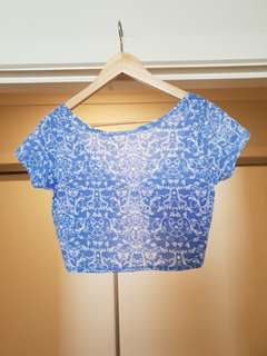 Blue floral crop top