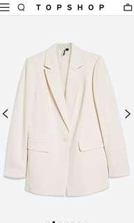 TOPSHOP Longline Oversized White Blazer