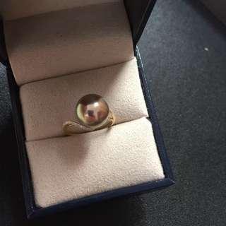 古銅綠淡水珍珠戒指