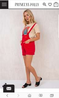 Red sloan overalls