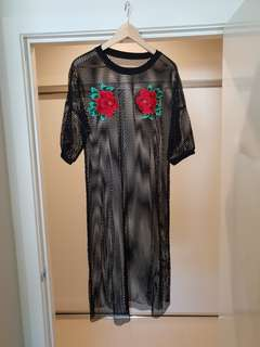 Black oversized mesh Rose's dress