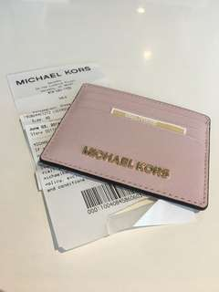 BNWT: Michael Kors Jet Set Blossom Pale Pink Leather Credit Card ID Travel Case Holder