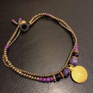 Golden Purple boho handmade anklet
