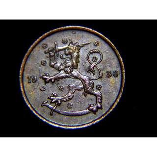 1936年芬蘭共和國立獅揮刀國徽5賓尼銅幣