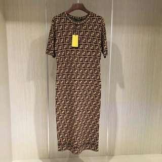 Brown Fendi Monogram style crew neck dress