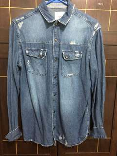 Zara Man Distress Denim Long-Sleeve Shirt Medium