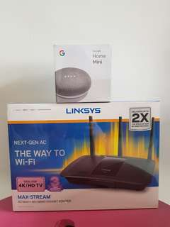 Linksys AC1900+ MU-MIMO GIGABIT Router & Google home mini