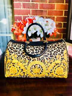 Authentic Vintage GIANNI VERSACE Leopard yellow Boston Bag