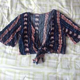 Tribal print wrap top