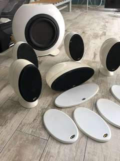 KEF speaker set w subwoofer for sale; original price $2.4k