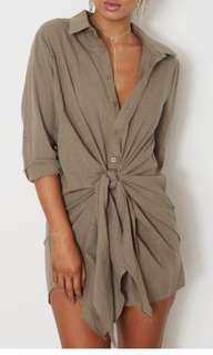 Tie front dress khaki