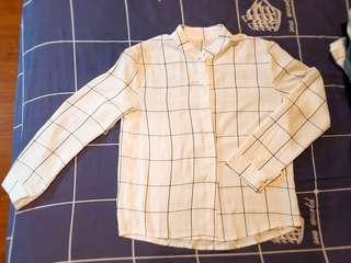 🚚 格紋雪紡襯衫上衣外套防曬罩衫