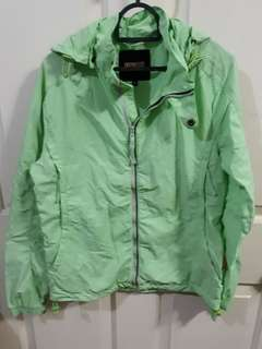 Pastel Green Light jacket with removable hood