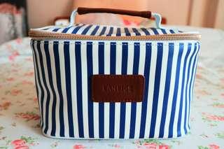 NEW! Laneige Makeup Bag / Pouch (Blue-White Stripes w Zip)