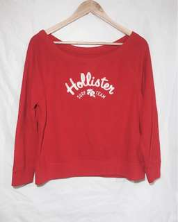 Hollister red wide-neck pullover