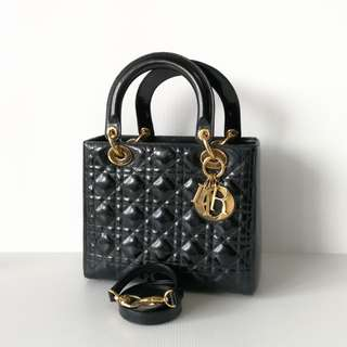 Authentic Lady Dior Black Ghw