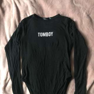 Long sleeve basic top with Tomboy print