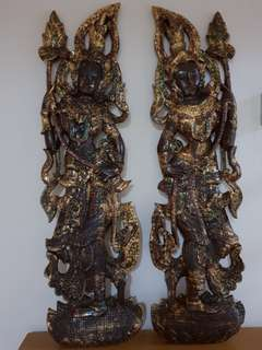 Teak Wood Carving Wall Deco Pair (Clearance Sales)