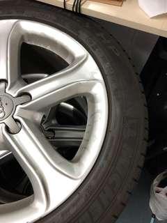 Audi A4原裝17吋呔鈴 合交車用 225/50/r17 2條米仔 2條石橋 9成新 一套四條$1200 柴灣自取