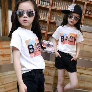 Korean White Letters Baby Short Sleeve T-shirt