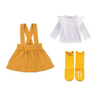 NWT Cute Mustard girls size 2-3 girls outfit skirt lace long sleeve long socks