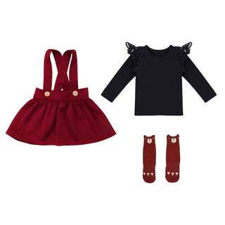 NWT Cute Wine Red girls size 2-3 girls outfit skirt lace long sleeve top & long socks