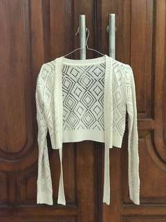 Broken White Crop Cardigan