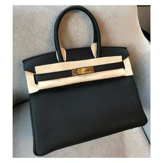 Authentic Hermes Birkin 30 Black Ghw