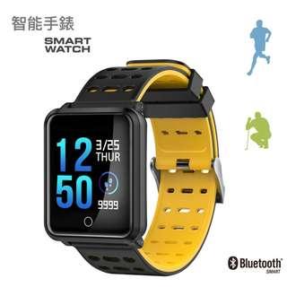 【全防水】WHATSAPP WECHAT 信息顯示/來電提示/血壓心率監測/計步器/睡眠監測 /遙控影相 智能手錶 Bluetooth Smart Watch IP68