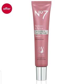 No7 Restore and Renew Face & Neck Multi-Action Serum