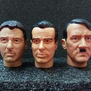 """12"""" 1/6 明星 名人頭雕 for Action Figures Clooney Brosnan Hitler 古尼 007 希特勒"""