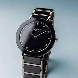 Bering lady's watch (black ceramic and silver)