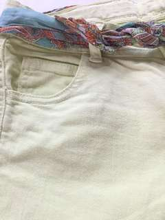 Light green Zara shorts with colorful belt