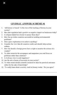 H1 General Paper GP Essay question outlines/ notes