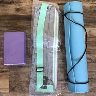 Yoga mat, mat bag & block - all BRAND NEW