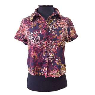New:Pink floral polo top
