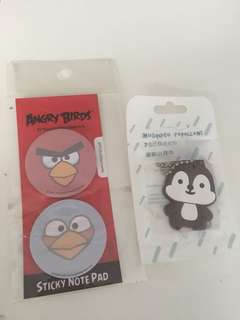 Angry bird post it n cute repellent Keychain