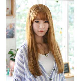 Korean Air Fringe Full Straight Wig for Daily Use (Natural Black/Dark Brown/Brown)