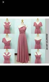 Infinity dress long Oldrose