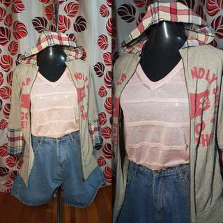 🍭Hoodie Jacket with half plaid sleeve, medium;80