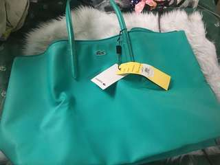 LACOSTE BRAND NEW AUTHENTIC TEAL TOTE BAG