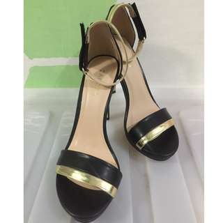 Ankle Strap Heels (black & gold 4 inches tall)