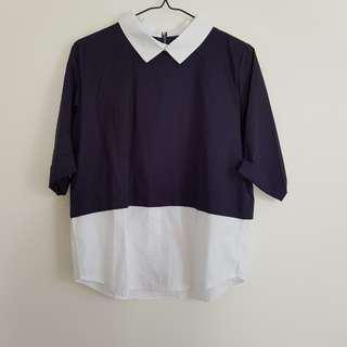 Faux 2piece collared shirt